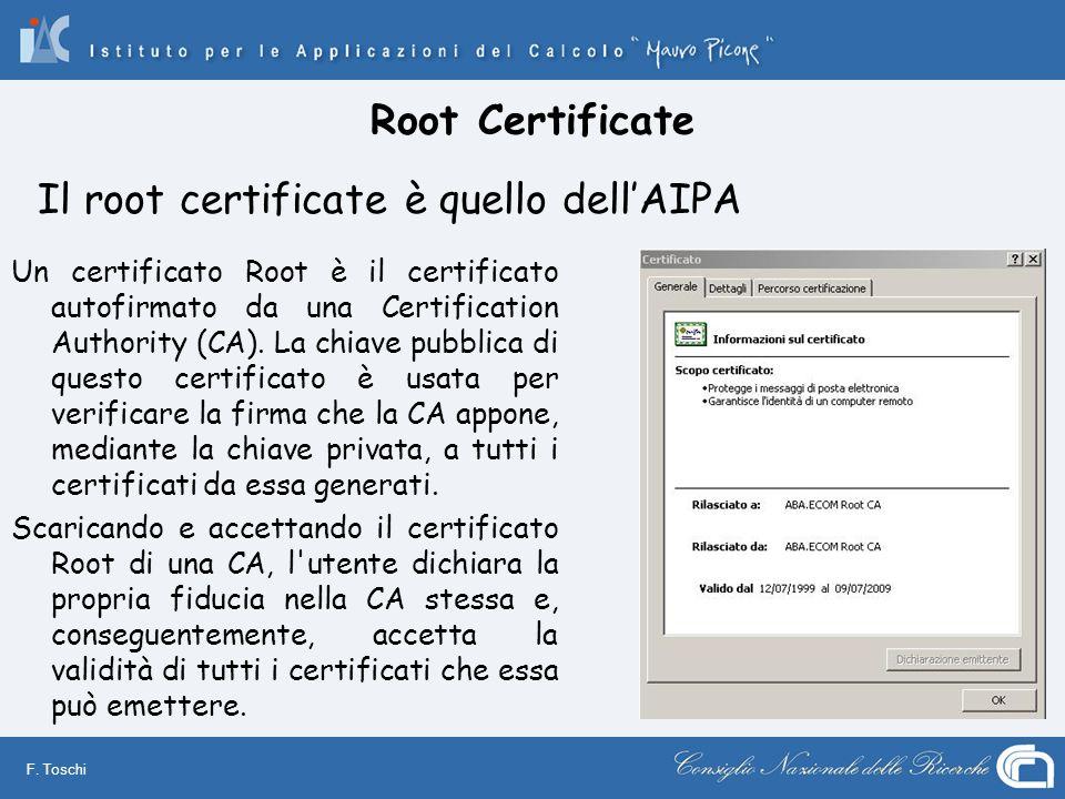 Il root certificate è quello dell'AIPA
