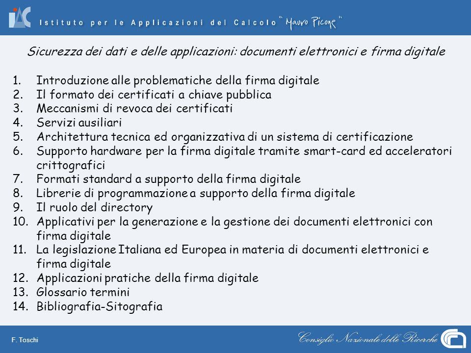 Sicurezza dei dati e delle applicazioni: documenti elettronici e firma digitale