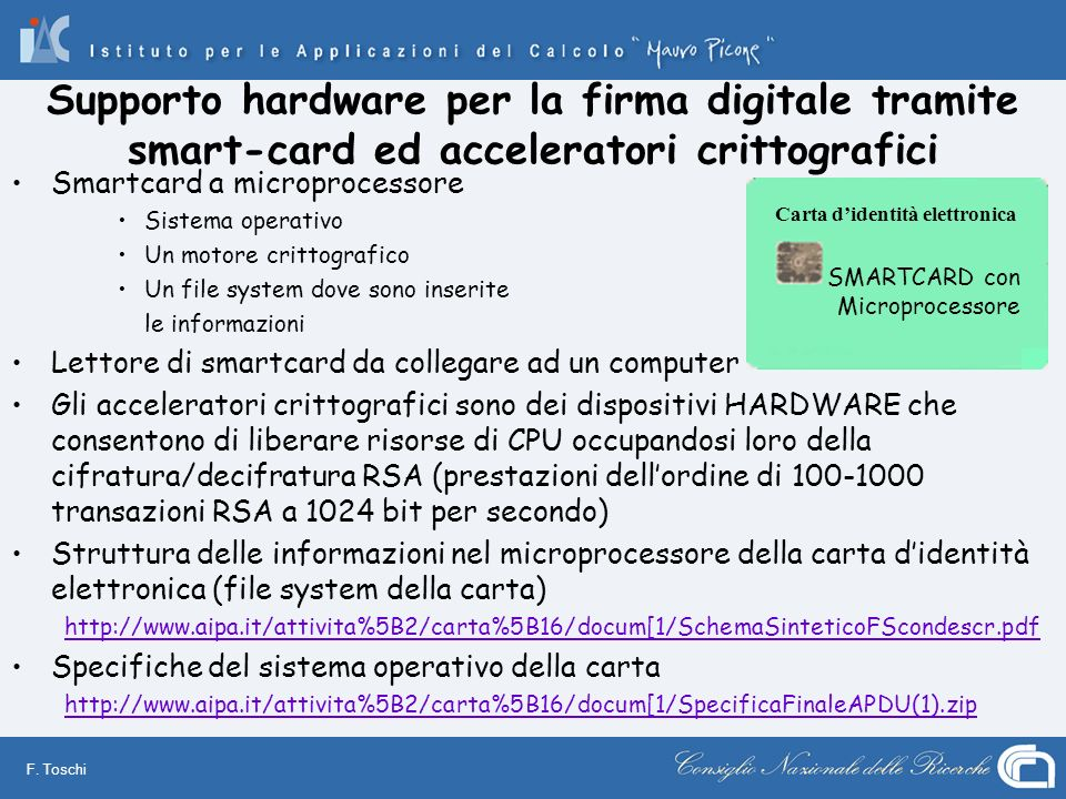 Supporto hardware per la firma digitale tramite smart-card ed acceleratori crittografici