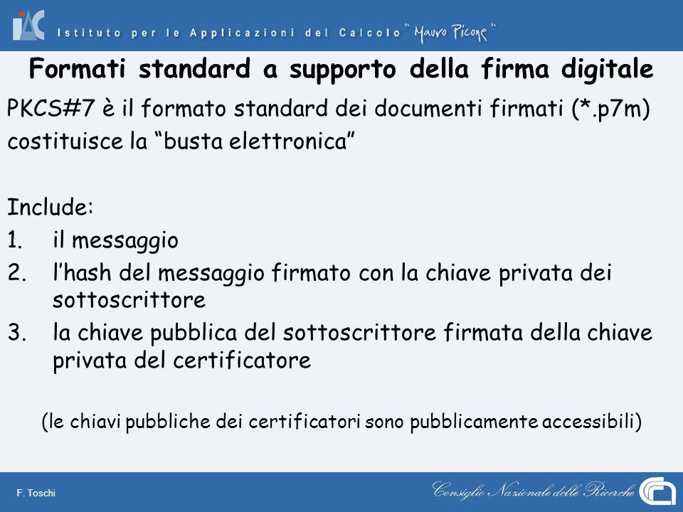 Formati standard a supporto della firma digitale