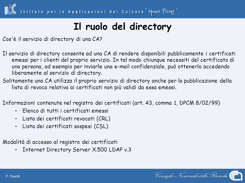 Il ruolo del directory Cos è il servizio di directory di una CA