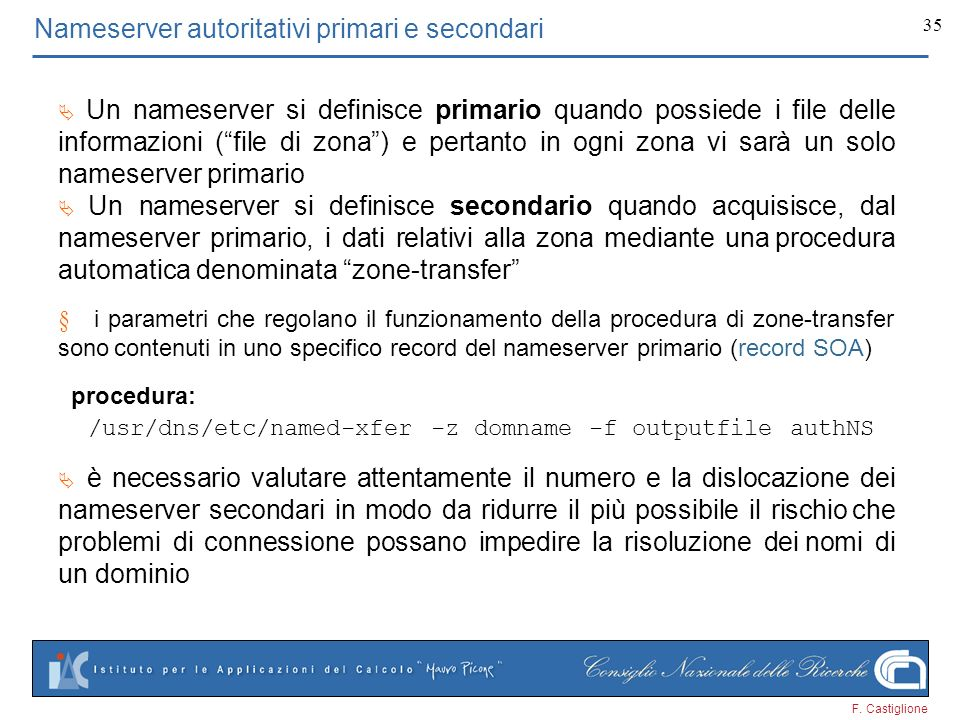 Nameserver autoritativi primari e secondari