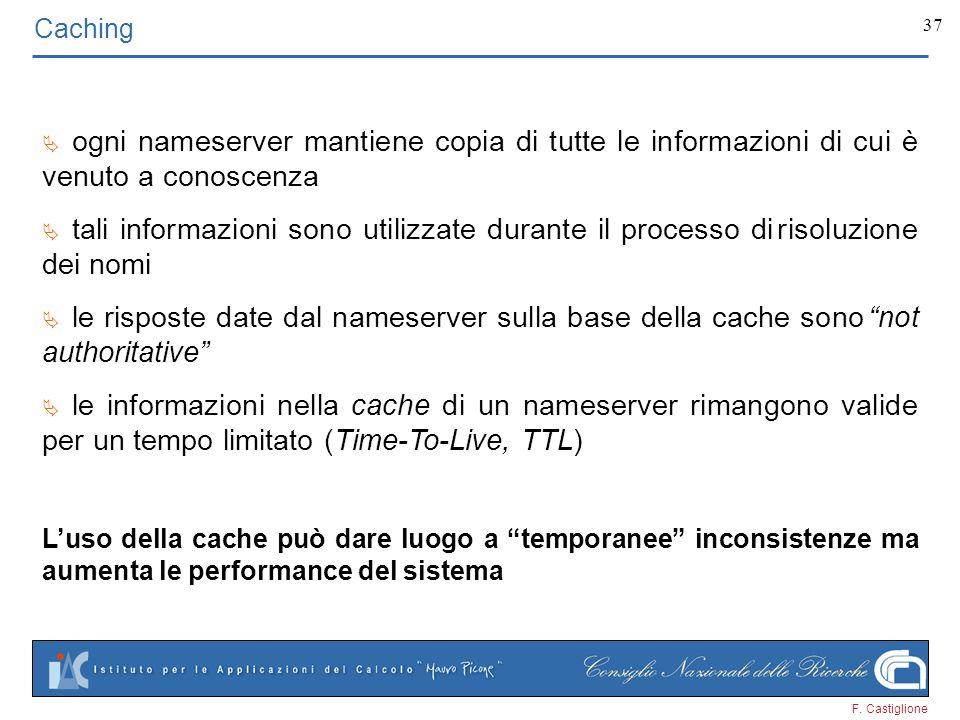 Caching Ä ogni nameserver mantiene copia di tutte le informazioni di cui è venuto a conoscenza.