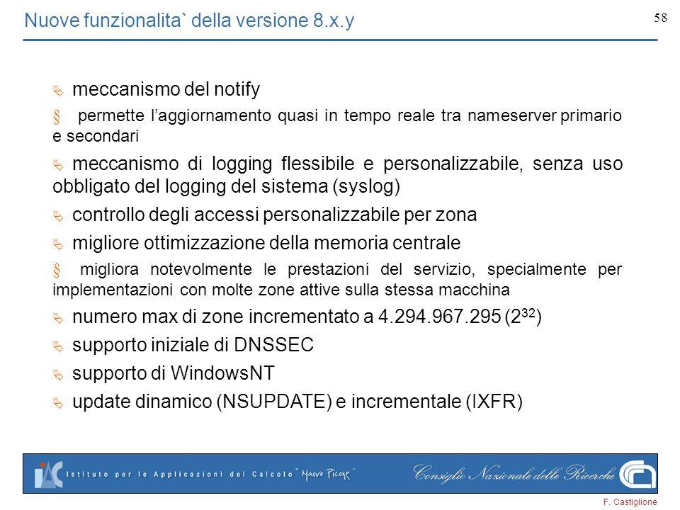 Nuove funzionalita` della versione 8.x.y