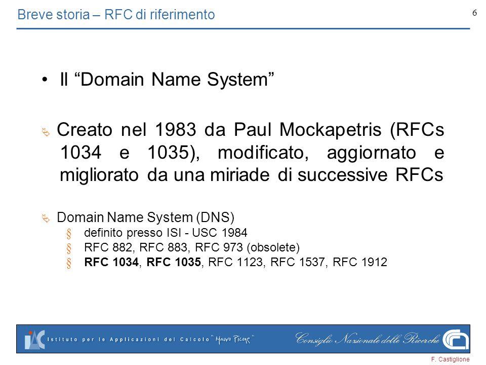 Breve storia – RFC di riferimento