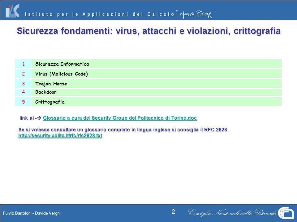 Sicurezza fondamenti: virus, attacchi e violazioni, crittografia
