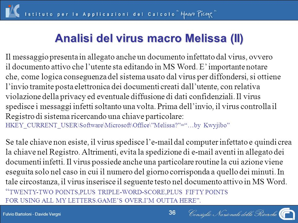 Analisi del virus macro Melissa (II)