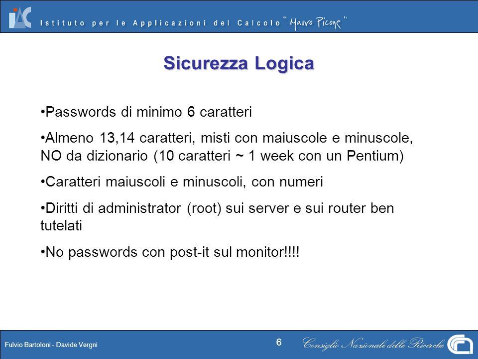Sicurezza Logica Passwords di minimo 6 caratteri