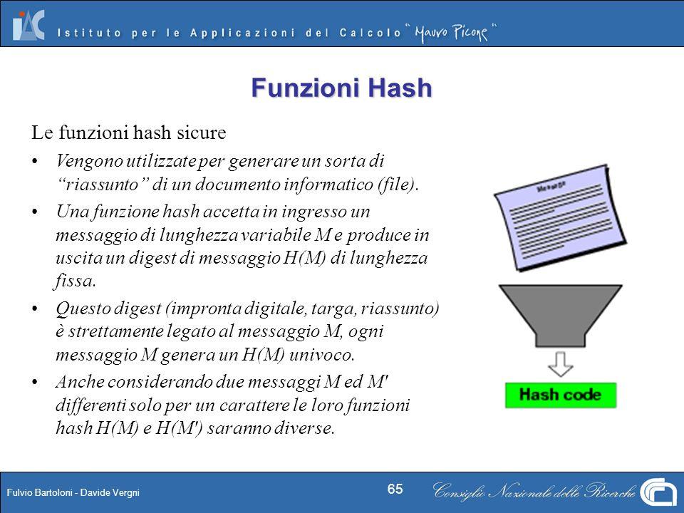 Funzioni Hash Le funzioni hash sicure