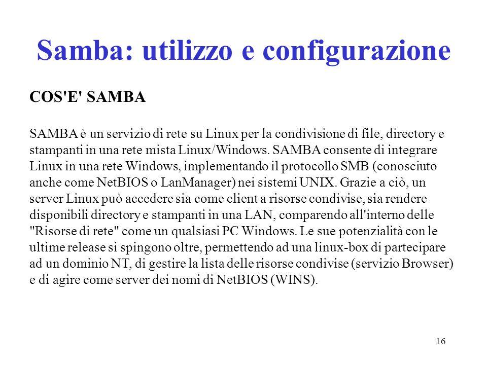 Samba: utilizzo e configurazione