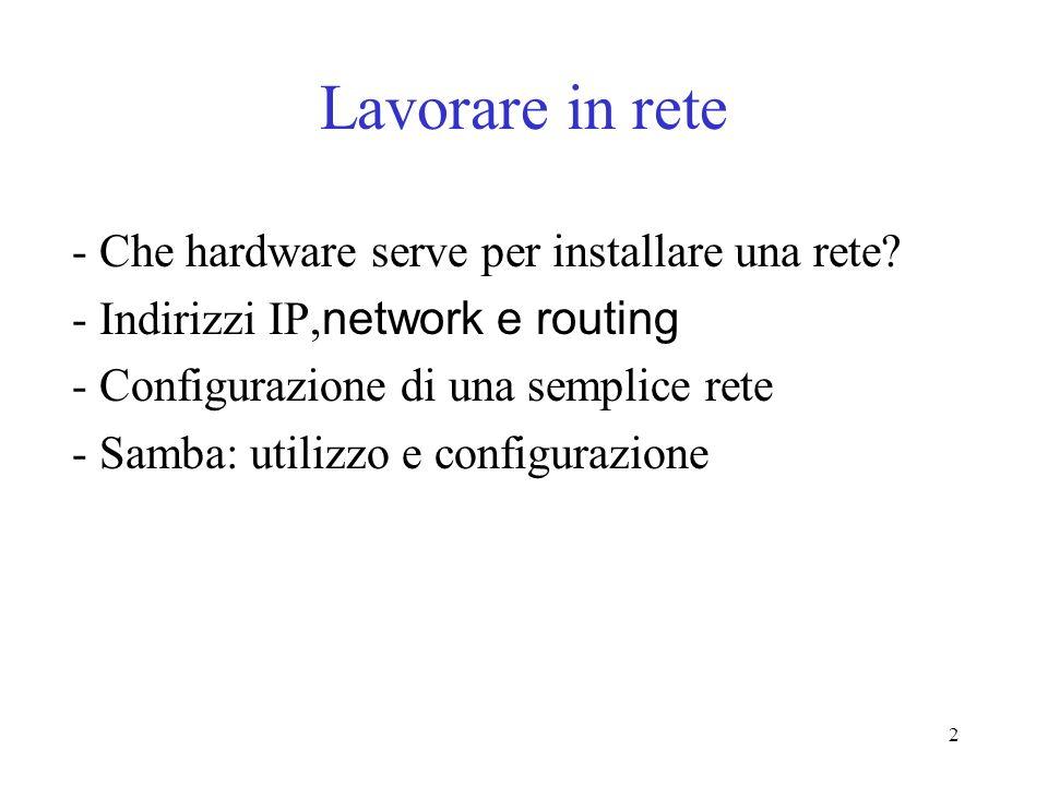 Lavorare in rete - Che hardware serve per installare una rete