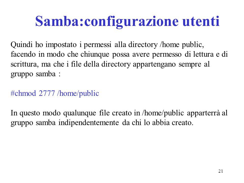 Samba:configurazione utenti