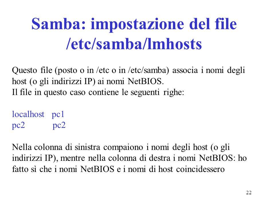 Samba: impostazione del file /etc/samba/lmhosts