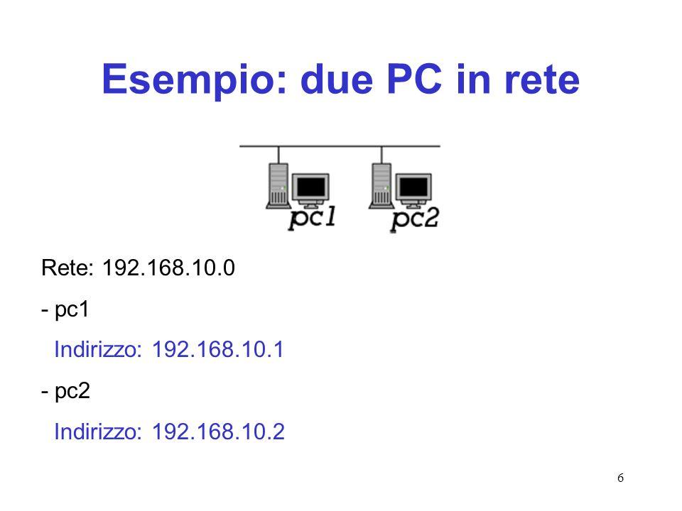 Esempio: due PC in rete Rete: 192.168.10.0 - pc1