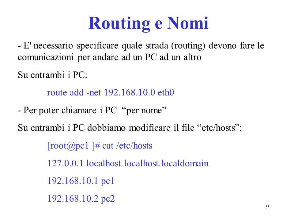 Routing e Nomi - E necessario specificare quale strada (routing) devono fare le comunicazioni per andare ad un PC ad un altro.