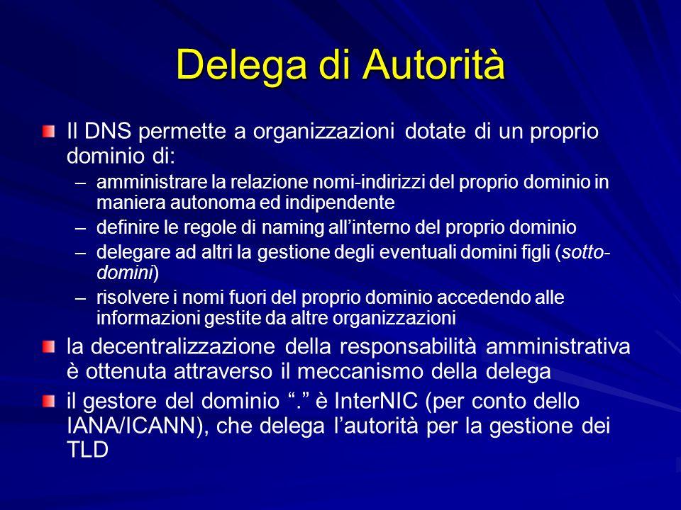 Delega di Autorità Il DNS permette a organizzazioni dotate di un proprio dominio di: