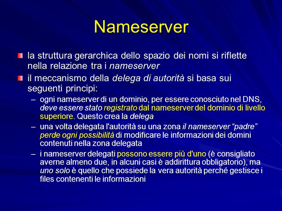 Nameserver la struttura gerarchica dello spazio dei nomi si riflette nella relazione tra i nameserver.
