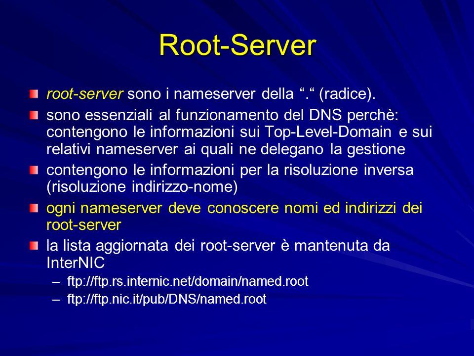 Root-Server root-server sono i nameserver della . (radice).