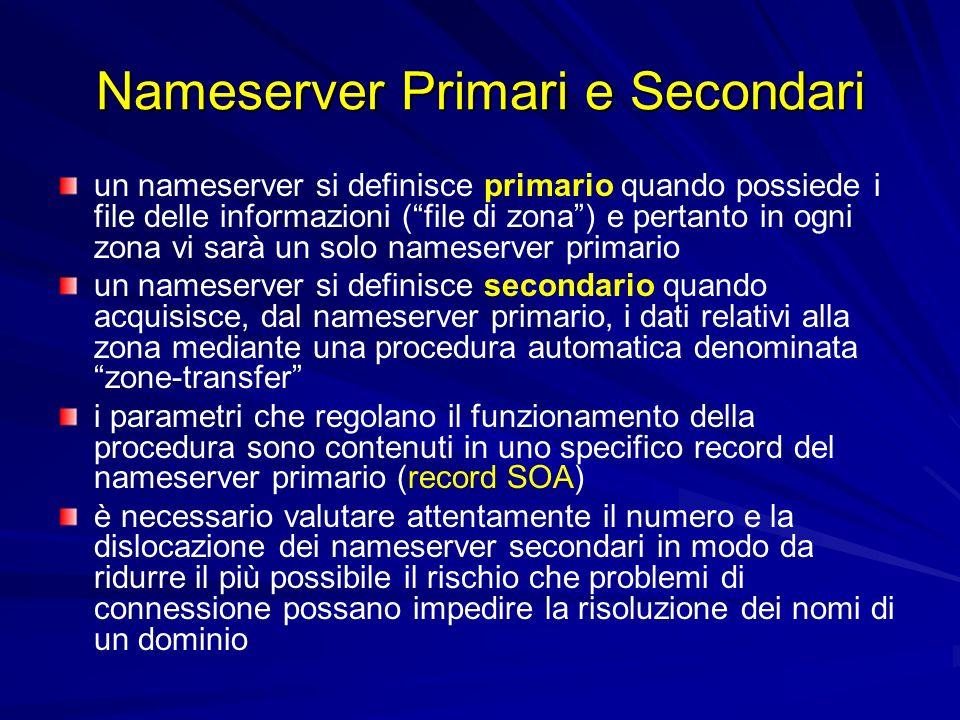 Nameserver Primari e Secondari