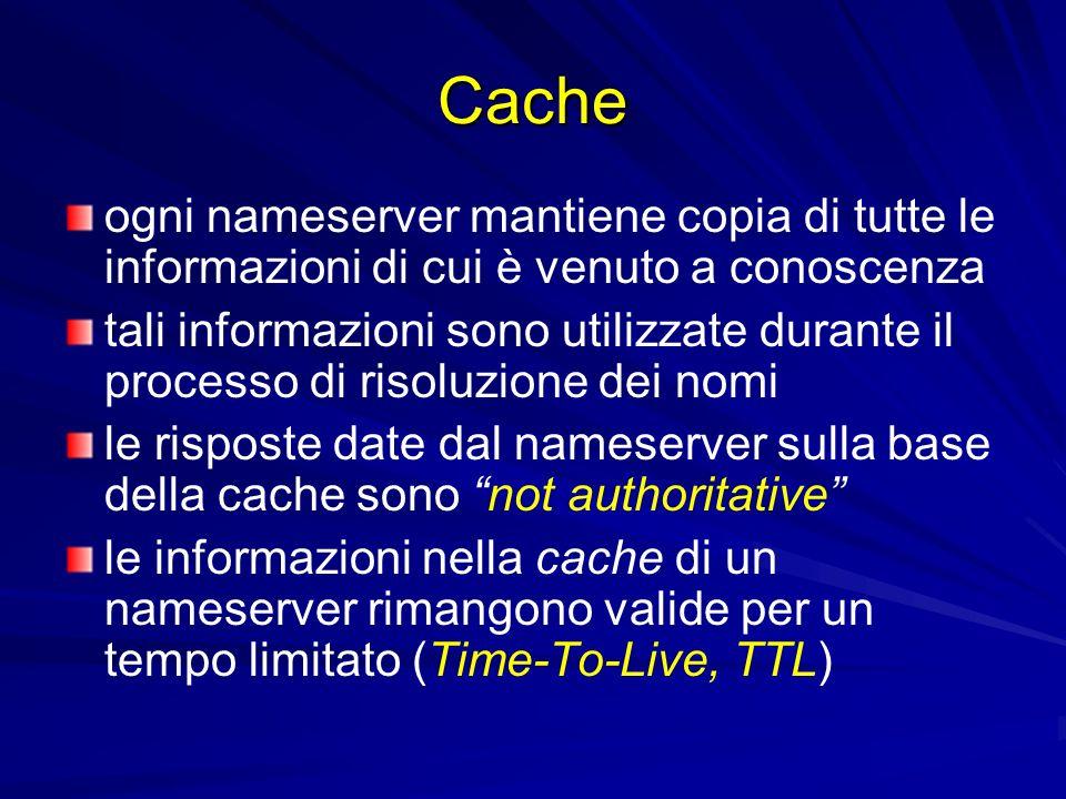 Cacheogni nameserver mantiene copia di tutte le informazioni di cui è venuto a conoscenza.