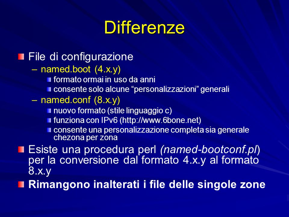 Differenze File di configurazione