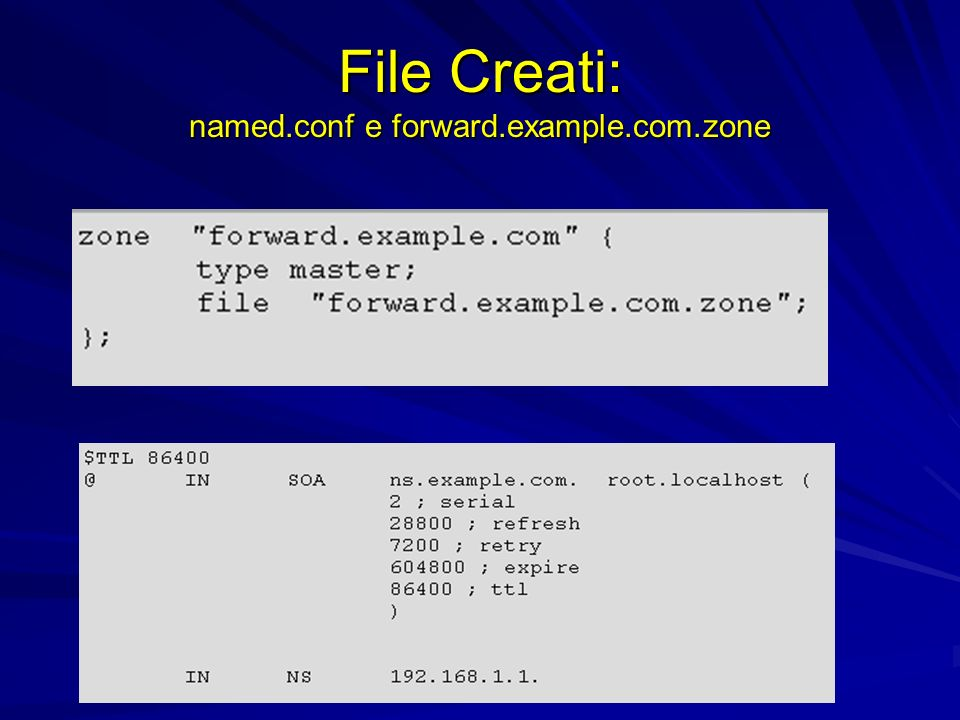 File Creati: named.conf e forward.example.com.zone