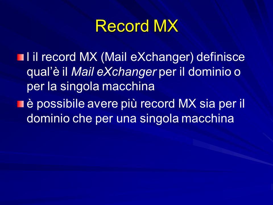 Record MXl il record MX (Mail eXchanger) definisce qual'è il Mail eXchanger per il dominio o per la singola macchina.