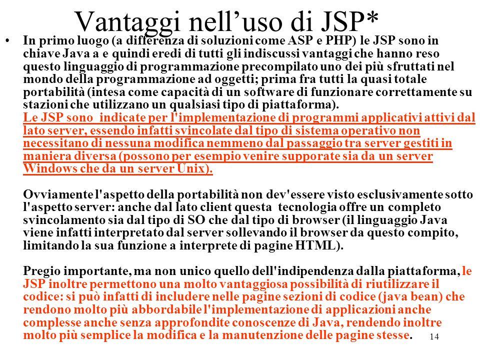 Vantaggi nell'uso di JSP*