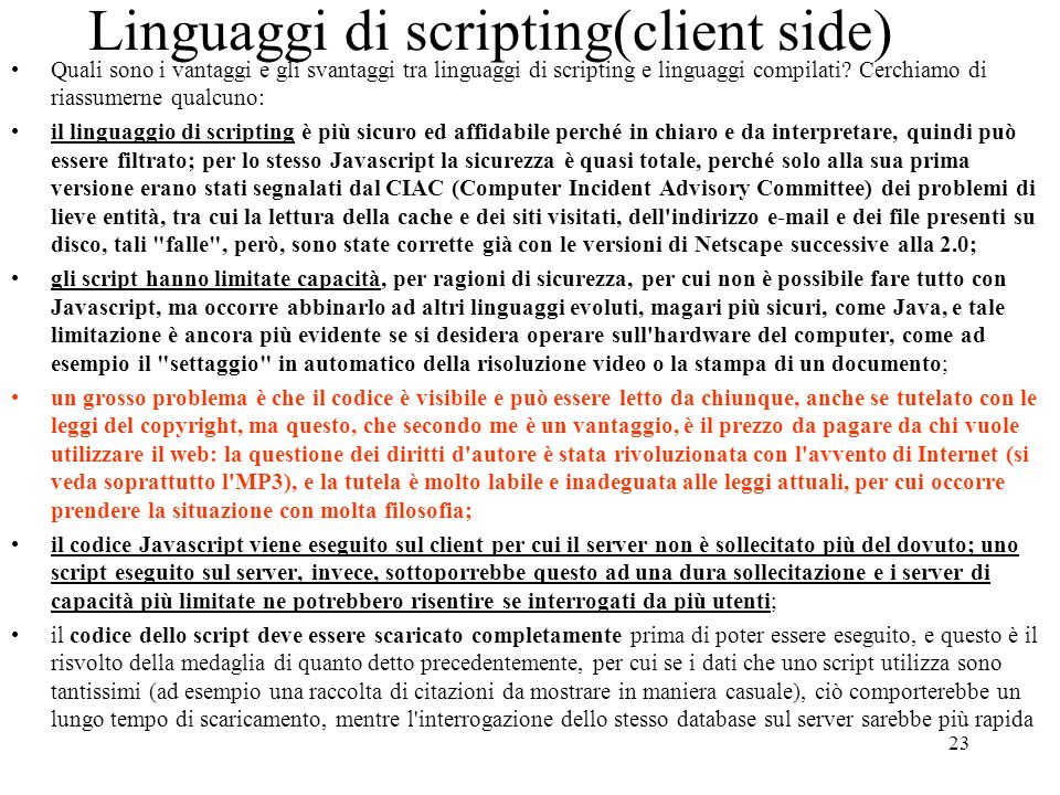 Linguaggi di scripting(client side)