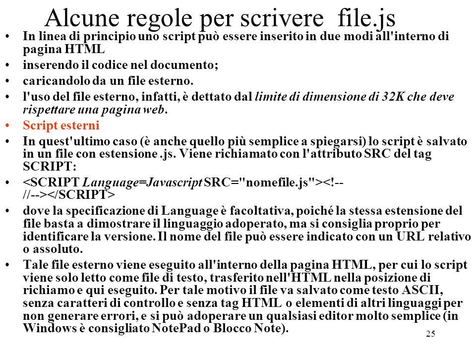 Alcune regole per scrivere file.js