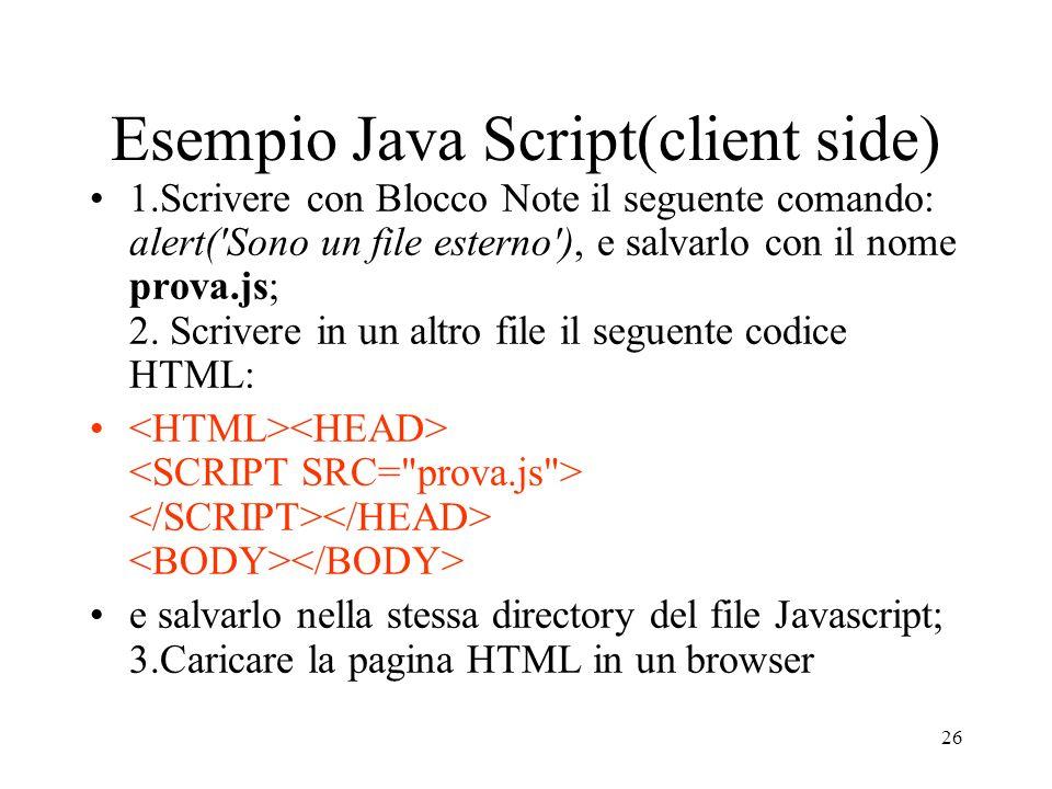 Esempio Java Script(client side)