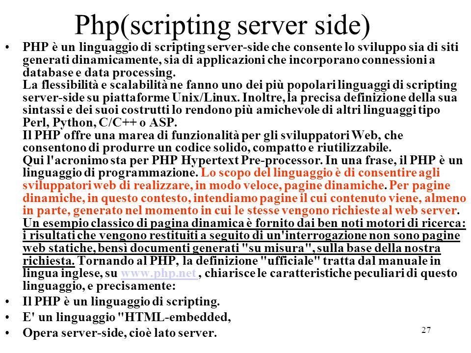 Php(scripting server side)