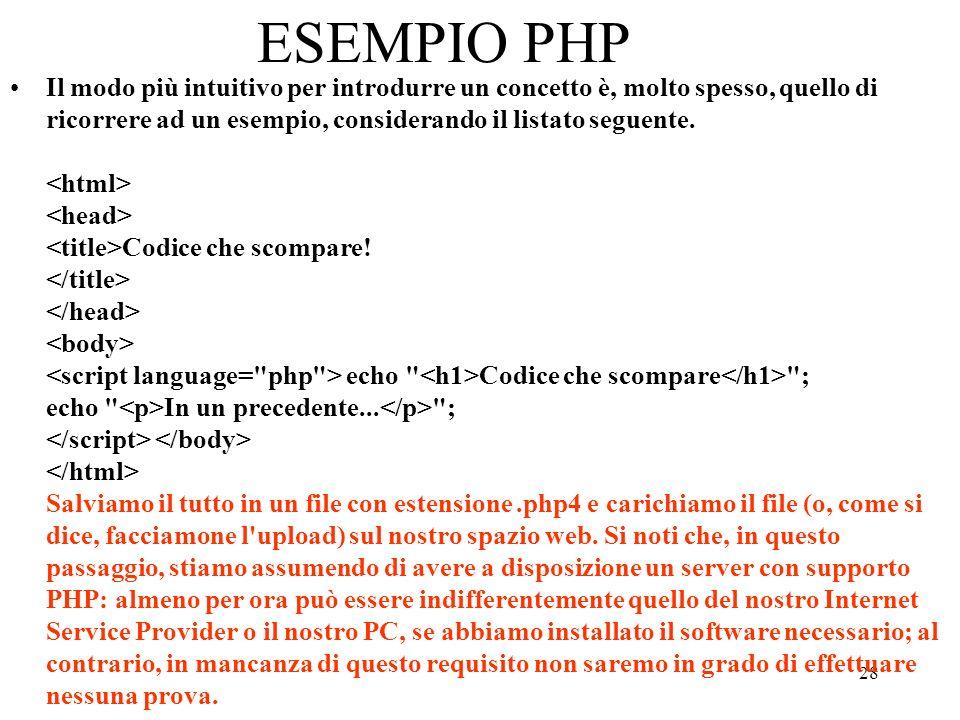 ESEMPIO PHP