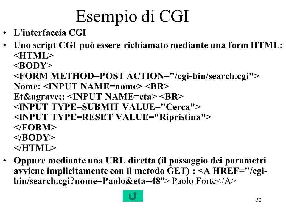 Esempio di CGI L interfaccia CGI