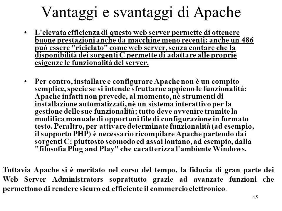 Vantaggi e svantaggi di Apache