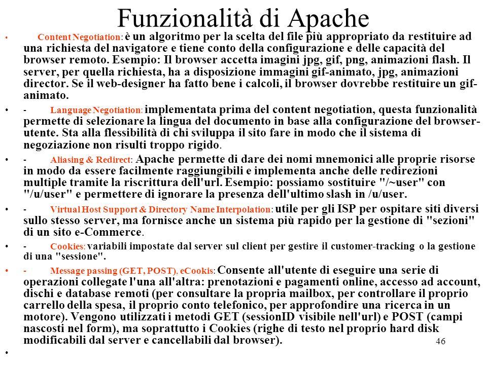 Funzionalità di Apache