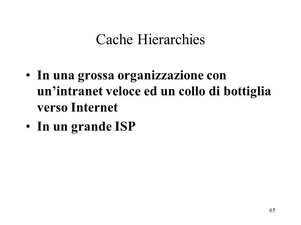 Cache Hierarchies In una grossa organizzazione con un'intranet veloce ed un collo di bottiglia verso Internet.