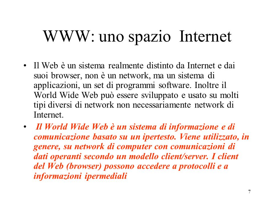 WWW: uno spazio Internet