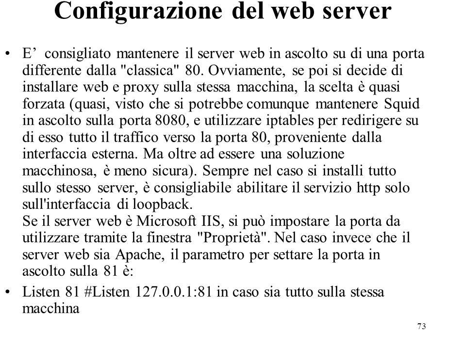 Configurazione del web server