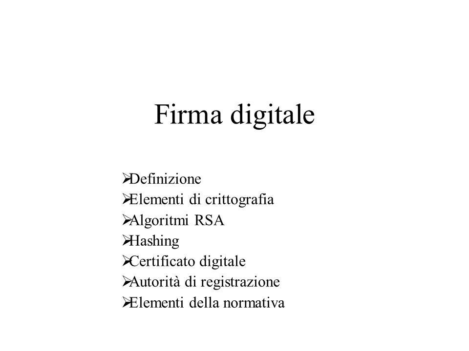 Firma digitale Definizione Elementi di crittografia Algoritmi RSA
