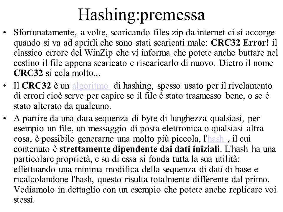 Hashing:premessa