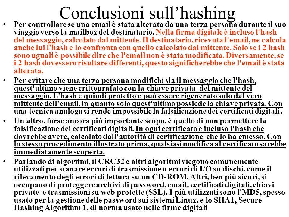 Conclusioni sull'hashing