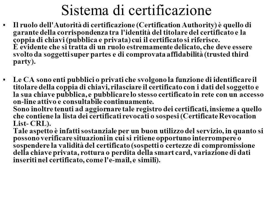 Sistema di certificazione