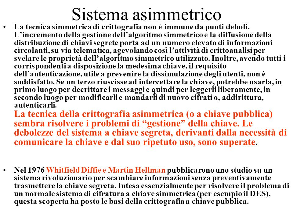 Sistema asimmetrico