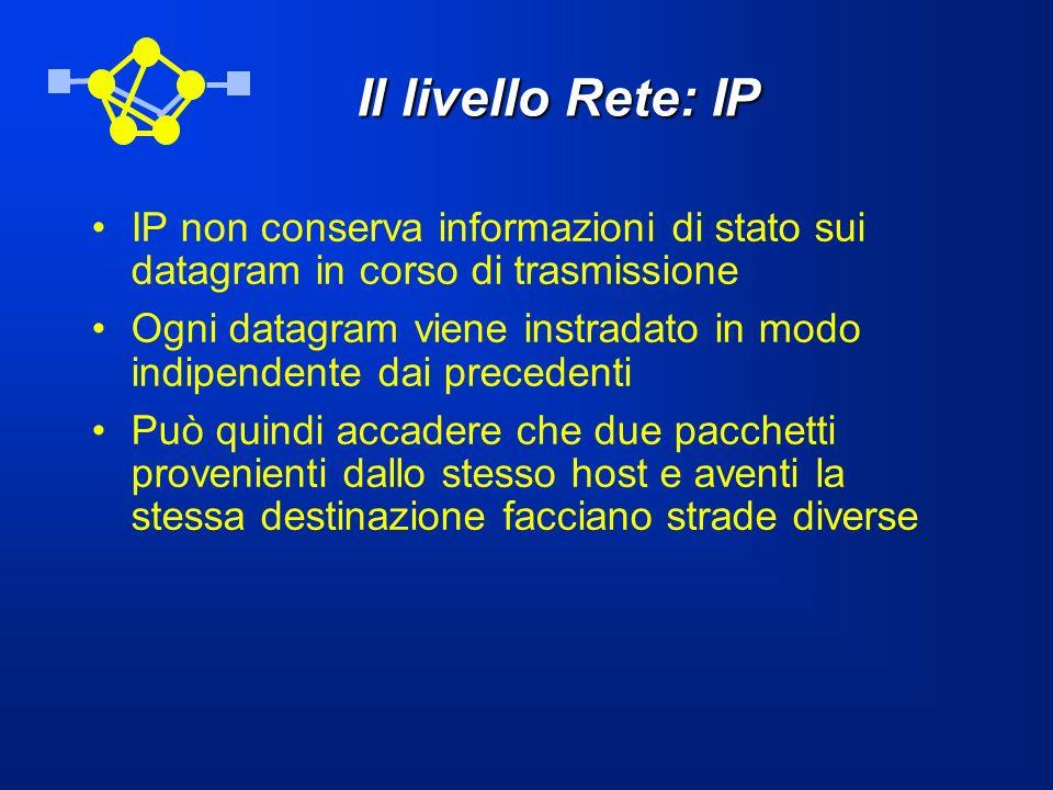Il livello Rete: IP IP non conserva informazioni di stato sui datagram in corso di trasmissione.