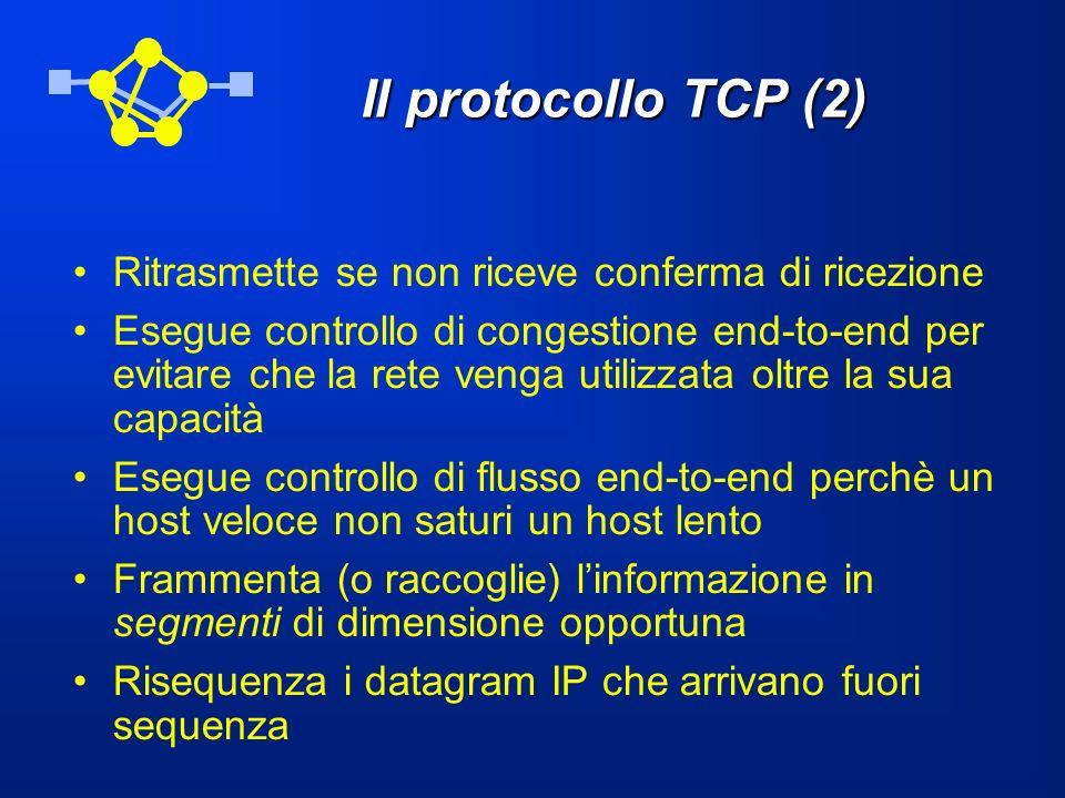 Il protocollo TCP (2) Ritrasmette se non riceve conferma di ricezione