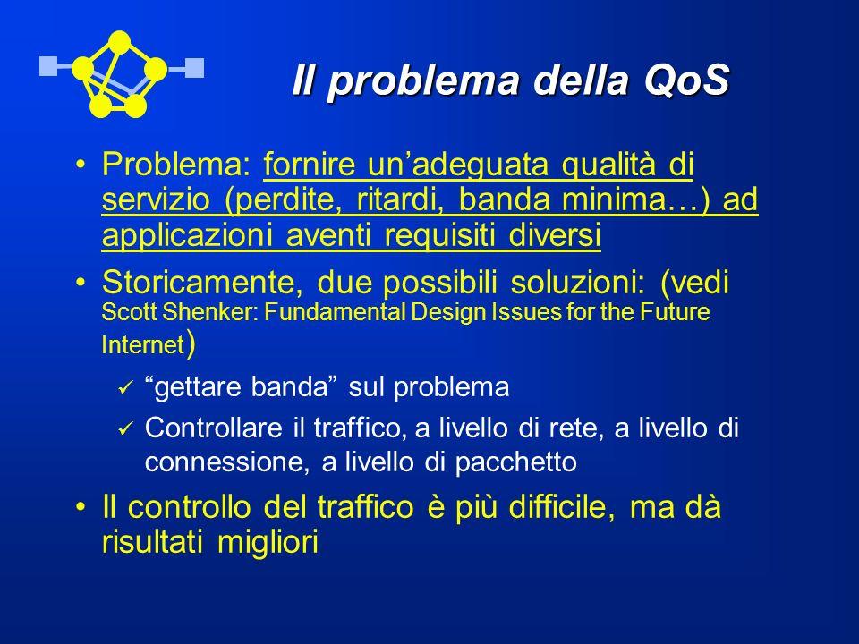 Il problema della QoS Problema: fornire un'adeguata qualità di servizio (perdite, ritardi, banda minima…) ad applicazioni aventi requisiti diversi.
