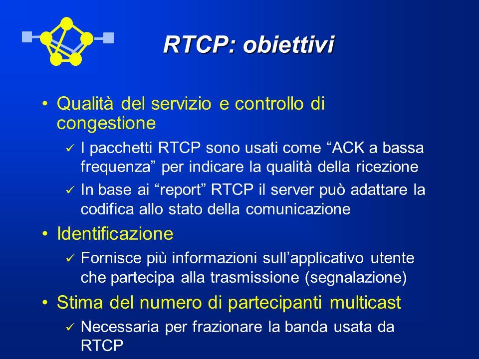 RTCP: obiettivi Qualità del servizio e controllo di congestione