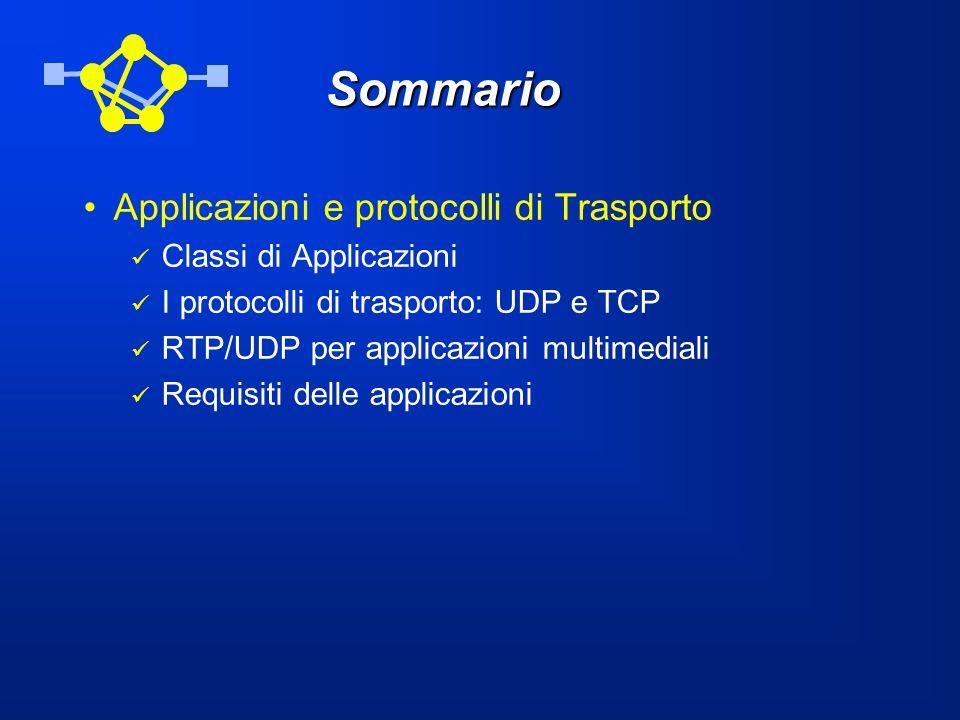 Sommario Applicazioni e protocolli di Trasporto Classi di Applicazioni