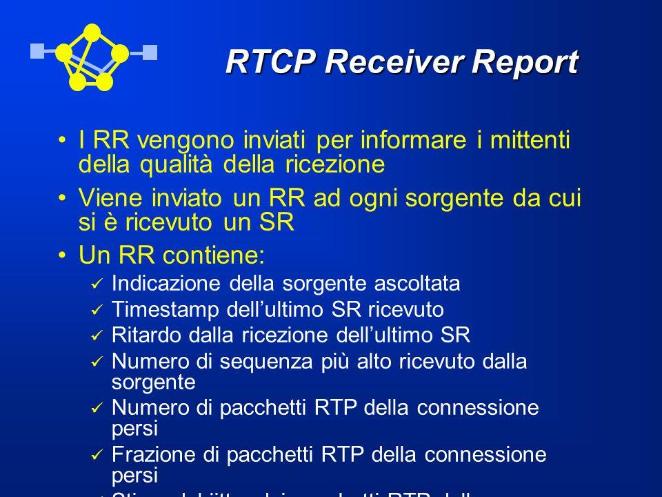 RTCP Receiver Report I RR vengono inviati per informare i mittenti della qualità della ricezione.